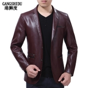 Spring and autumn Leather Men's thin Korean style, handsome suit collar, leisure PU leather jacket, youth self-cultivation tide, men's coat