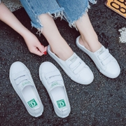 The summer shallow mouth white shoe female 2017 new Korean canvas shoes all-match slip-on pedal shoes white shoes