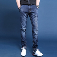 trend men's jeans jeans Slim pants youth casual spring and summer stretch boys thin section straight trousers