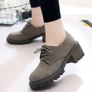 In the spring of 2017 new Korean female shoes with coarse with lace students shoes small leather shoes all-match shoes tide