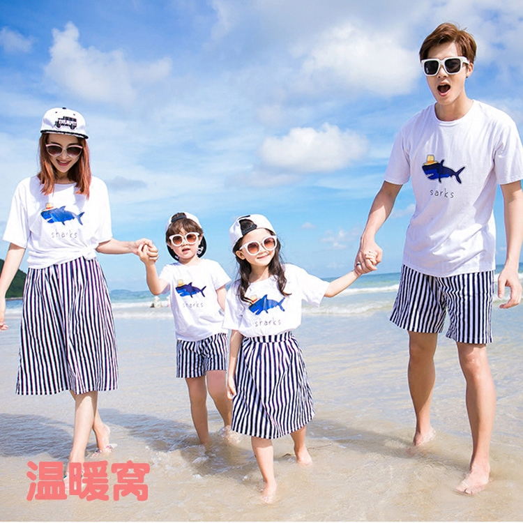 2017 summer new children s casual striped short sleeved T-shirt and mother and father and son father and daughter set tide