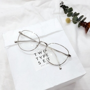 Korean art RETRO frame oval metal arrow round flat mirror to the male and female fashion glasses