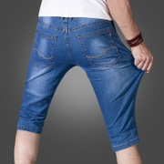 In the summer of 7 thin summer men's Denim Shorts seven pants five slim pants stretch loose breeches