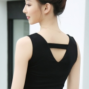 The new double cotton backing vest summer female slim slim wear size small shirt is simple all-match coat
