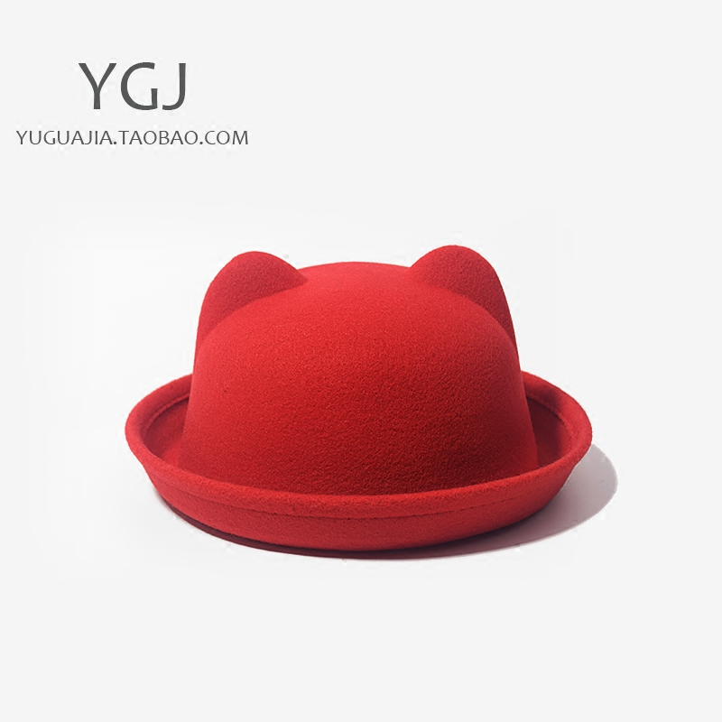 余瓜家毛呢猫耳朵成人儿童遮阳帽可爱秋冬韩版新品潮男女卡通帽子