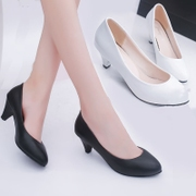 Professional dress, go to work, work shoes, black women, leather shoes, high heels with shallow, single shoes, thick and round head, 5cm