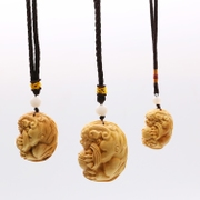 Good Qi boxwood carving Pixiu hand pendant carved items key chain car rearview mirror pendant