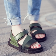 Korean version of the new summer leisure all-match flat sandals girls muffin thick bottom Velcro toe beach shoes