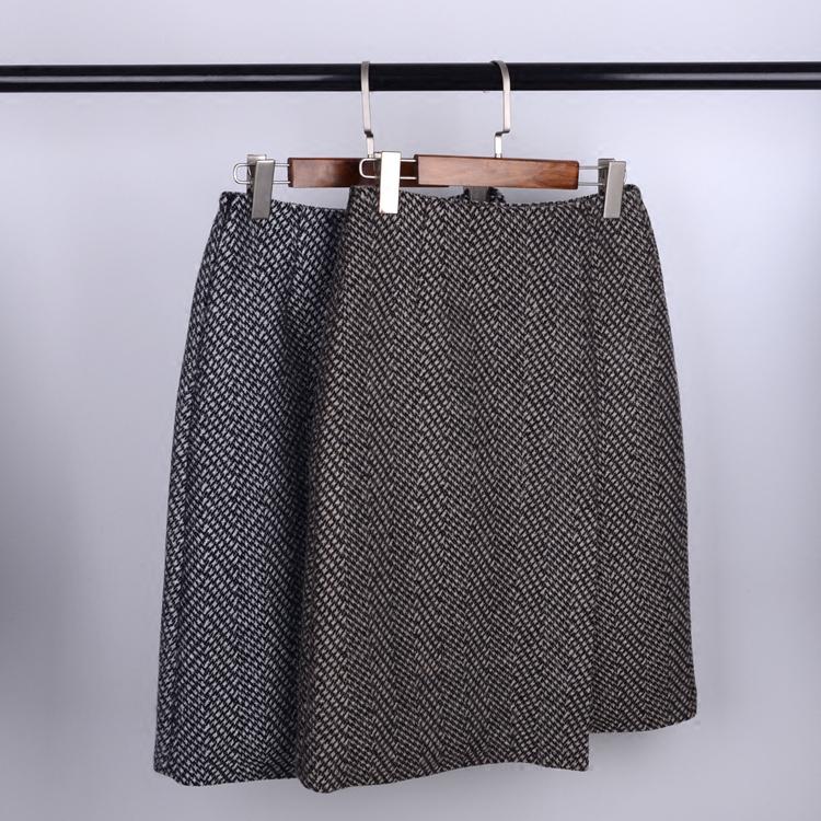 秋冬装新款女式加厚高腰斜纹中长款毛呢半身裙 复古百搭包臀A字裙