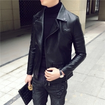 MU-slim short new trend in spring collar leather jacket mens Korean students coat jacket