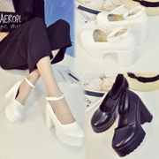 JK school uniform of black and white cross Band Princess Lolita college thick heeled big shoes buckle cos performance
