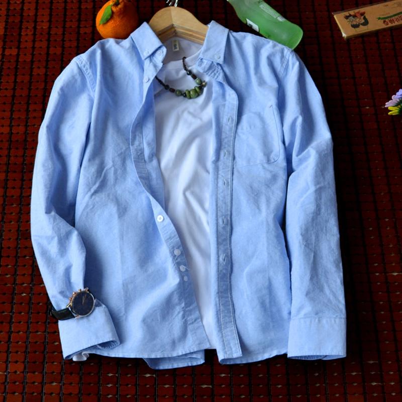 衬衫男长袖修身型立领韩版学生青少年棉麻薄款大码复古打底寸衫潮