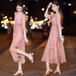女士春装2018新款韩版V领超仙雪纺连衣裙两件套长裙波西米亚裙子