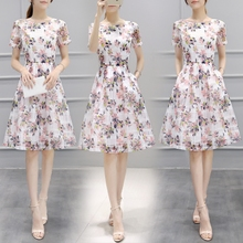 European goods 2018 spring and summer new women's tide Korean version Medium Long Print Dresses Women Fashion Slim Princess Dress