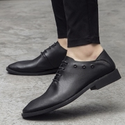 The summer men's business casual shoes soft leather leather dress England pointed Korean breathable soft bottom increased