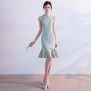 Spring 2017 new girls fashion cheongsam improved version short lace dress fishtail daily summer students