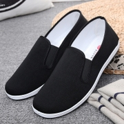 Old Beijing shoes shoes work shoes tide male lazy casual summer black canvas shoes old pedal