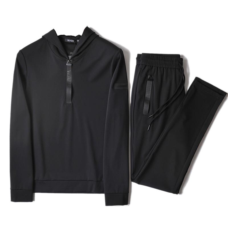 男休闲运动套装连帽长袖修身春秋季套装长裤