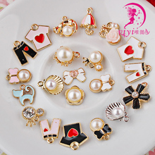 Handmade DIY Korean bow hair ornaments hanging pendant necklace bracelet pearl alloy material hair rope ring parts
