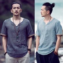 Chinese style men's clothing like cotton and linen T-shirt summer Season loose short-sleeved large size T-shirt thin Chinese retro imitation linen compassionate