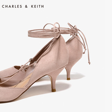Single high heels shoes CHARLESKEITH CK1-60280067 pointed kitten with suede in bandages