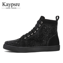 Kaypsre European station high shoes tide men's shoes trend fashion hot drilling shoes men's red bottom casual shoes