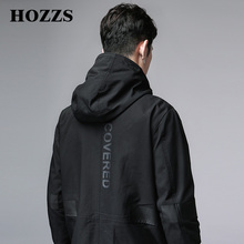 HOZZS/ Hanzhesi windbreaker man 2017 spring and autumn trend of Korean hooded in the long winter coat loose