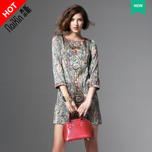 Naixin customized flagship store 1068 new dresses 3 / 4 sleeve women's printed slim one step dress
