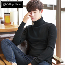 Korean men turtleneck sweater slim shirt in winter and autumn cashmere sweater knit sweater thickened tight