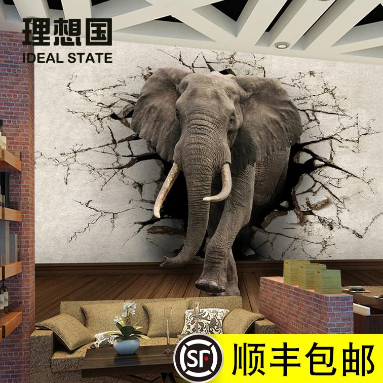 动物大象墙纸电视背景墙个性定制壁纸壁画