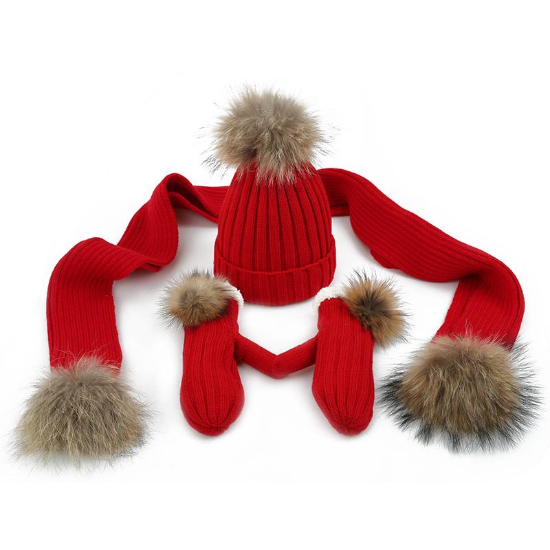 帽子围巾手套三件套女冬成人女生生日礼物