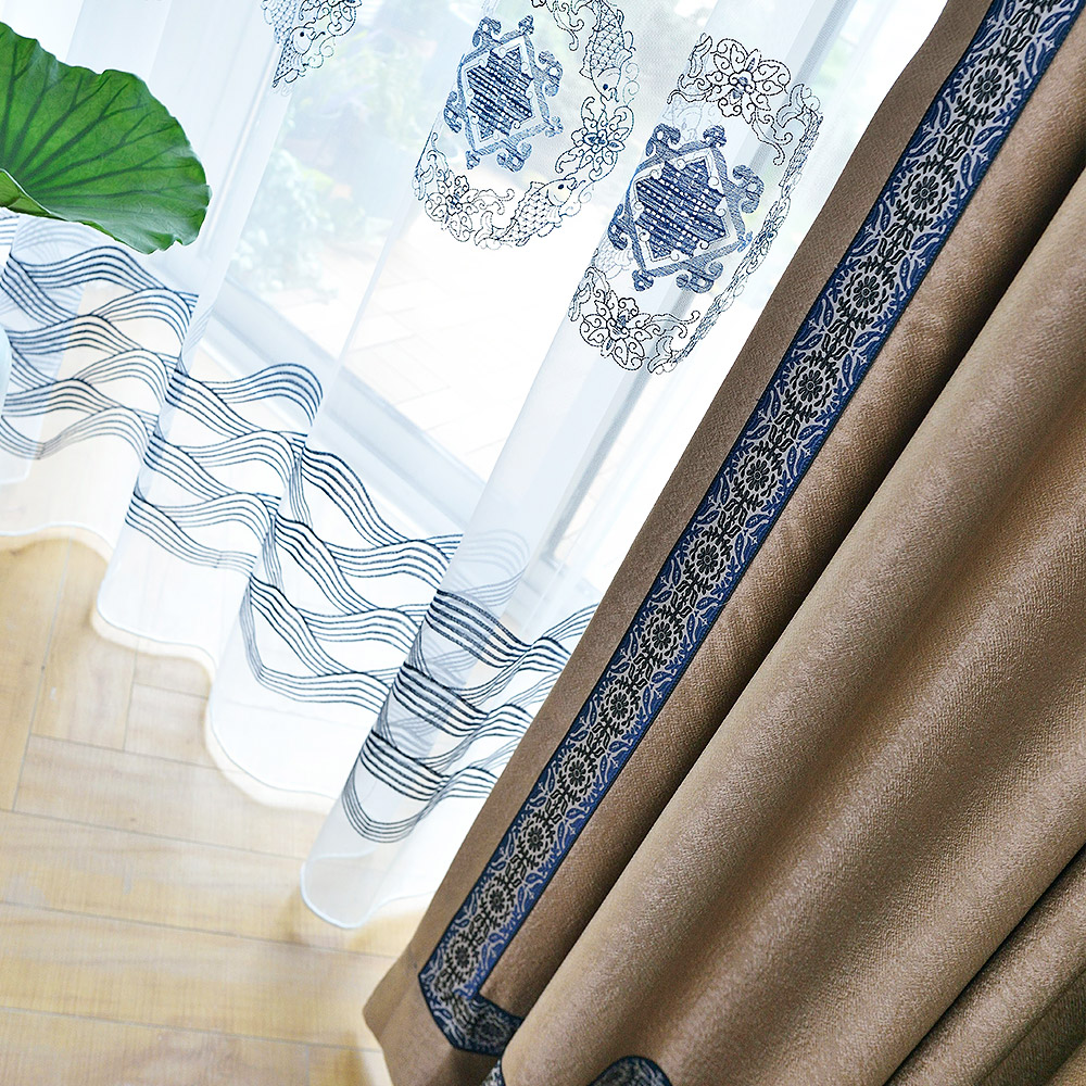 新中式古朴典雅中国风现代简约窗帘新古典