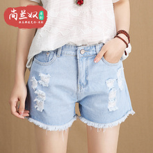 The hole in the spring of 2017 new summer denim shorts female Waist Shorts shorts female Korean all-match loose burrs