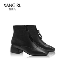 With 2017 new Xiangge children boots winter boots female fashion with black lace up boots with thick shoes