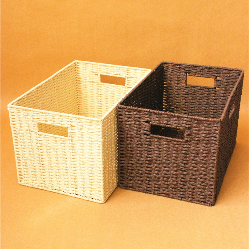 The straw box large storage box cover compilation basket wardrobe box clothing simple toy basket