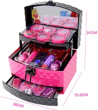 Fashion girl big new peach Princess makeup cosmetics box children toys set environmental safety