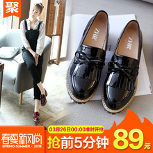 ZHR2018 spring new tassels Lok Fu shoes women with a single shoe British wind shoes small shoes high heels