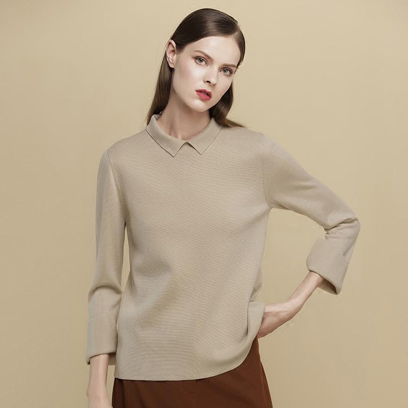 秋冬新款女装百搭翻领时尚羊毛衫长袖打底衫