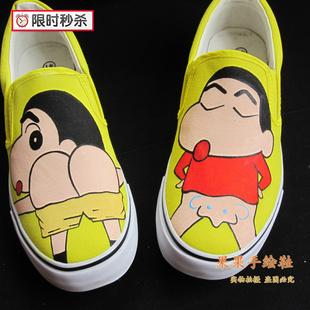 蜡笔小新手绘涂鸦懒人鞋一脚蹬鞋子女情侣款男春秋帆布鞋韩版潮