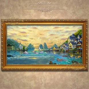 油画风景 手绘油画 欧式油画 地中海风景油画 欧式建筑 黄昏美景