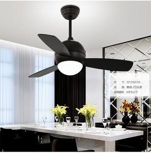 设计师的灯吊扇灯欧式现代简约时尚餐厅遥控木叶工业风扇灯亚光咖