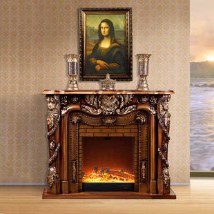欧式实木壁炉1.5米 深色壁炉带装饰炉芯 别墅壁炉装饰柜 住宅壁炉