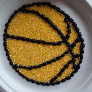 篮球 五谷豆子黏贴画 可diy 种子画 豆子黏粘贴画 创意家具装饰