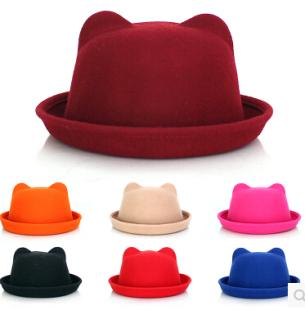 猫耳朵帽子秋季女士羊毛呢羊绒帽秋冬天韩版圆顶卷边小礼帽小圆帽