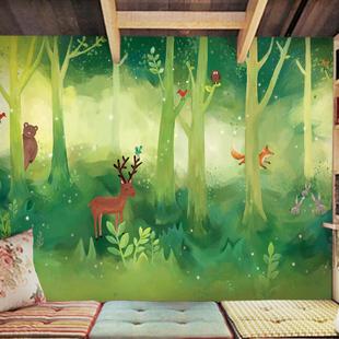 卡通森林动物墙纸壁纸 儿童房卧室背景墙壁纸 幼儿园环保大型壁画