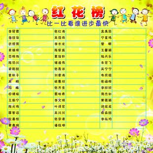 1饰品摆件f27/531幼儿园小学生红花榜进步评比海报展板宣传画贴纸