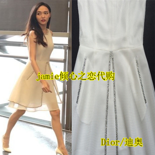 2016春夏迪奥唐嫣赵丽颖明星同款清新优雅时尚网纱白色潮流连衣裙