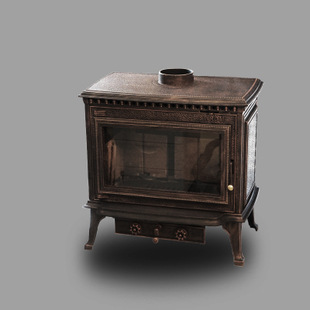 圣罗曼壁炉 铸铁燃木壁炉 独立式真火壁炉 公爵(黑色/红铜色)