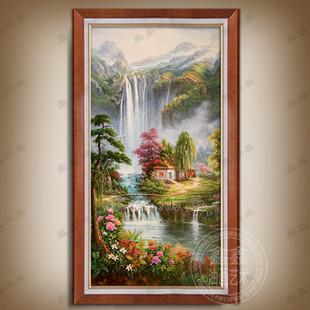 田园风景纯手绘油画山水瀑布聚宝盆欧式画玄关壁炉客厅装饰画有框