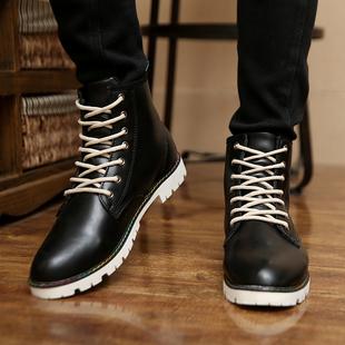 男鞋春季英伦男士马丁靴韩版中高筒高帮短靴青少年潮流休闲鞋皮靴图片